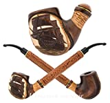 ''Pirate Ship III'' Pear Wood Hand Carved small Churchwarden Tobacco Smoking Pipe