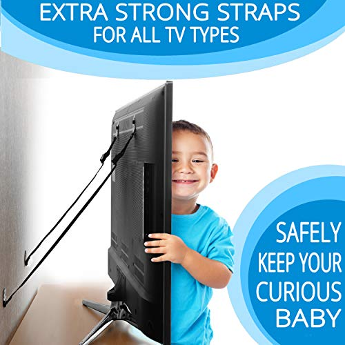 METAL Anti Tip Furniture Kit - TV Straps Safety For Flat Screens -4 Pack - Earthquake Straps - Furniture Anchors For Baby Proofing - TV Wall Straps - Child Proof Mounting Straps, Childproof Antitip by Family Care (Image #3)