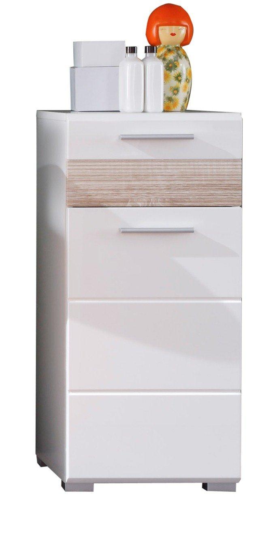 Trendteam Mobili, Derivato del Legno, Bianco Lucente, 37 x 79 x 31 cm 1280-802-41