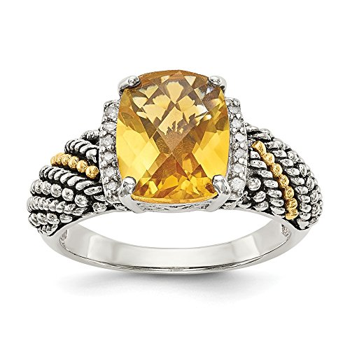 925 Sterling Silver 14k Diamond Yellow Citrine Band Ring Size 6.00 Gemstone Fine Jewelry Gifts For Women For Her