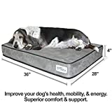 "PetFusion SerenityLounge Solid 4"" Memory Foam Dog Bed for Medium to Large Dogs (36x28x4"" orthopedic sofa couch; Gray). Micro Suede Cover. Replacement covers & matching blankets also available"
