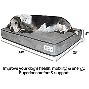 """PetFusion SerenityLounge Solid 4"""" Memory Foam Dog Bed for Medium to Large Dogs (36x28x4"""" orthopedic sofa couch; Gray). Micro Suede Cover. Replacement covers & matching blankets also available"""