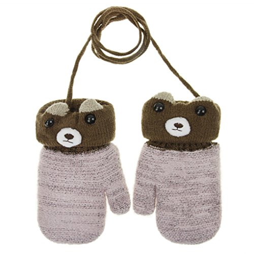 Bear Hands Mittens - Toddler Children Winter Knitted Magic Gloves Kids Baby Cute Cartoon Bear Wool Warm Thick Fleece Lined Outdoor Ski Thermal Gloves with String Cable Mittens Handwarmer Xmas Gift for Boys Girls Age 1-5Y