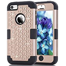iPhone 5C Case, NOKEA Diamond Hybrid Heavy Duty Shockproof Full-Body Protective Case Ultra Slim Bumper Cover 3 in 1 Shield Soft TPU Hard PC Dual Layer Impact Protection (Gold Black)