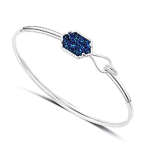 Luvalti Women Unique Elegant Jewelry Princess Blue Crystal Cluster Bangle Bracelets Silver Plated - Jewelry Gifts for Her