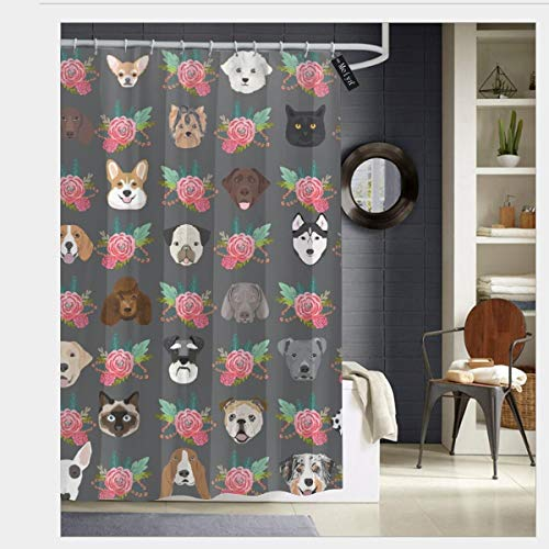 pendant necklace Dogs and Cats Heads Florals Pet Lover Fabric Pattern Charcoal and Pink_437 Prints Rustic Old Barn Wood Bathroom Shower Curtain Set with Hooks 60