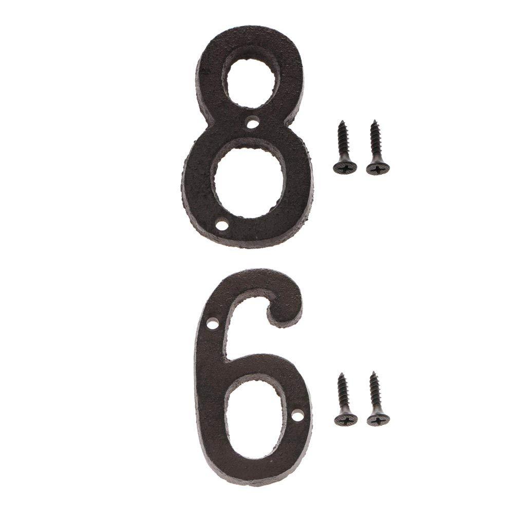 6 Homyl 2X Gro/ße Hausnummer Haus Zahlen Nummer aus Schmiedeeisen