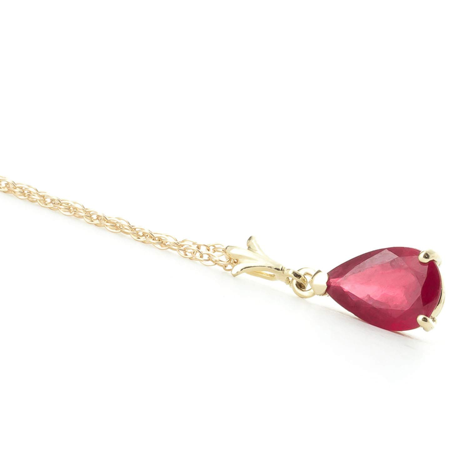Galaxy Gold 1.75 Carat 14k 18'' Solid Gold Natural Pear-shaped Ruby Drop Pendant Necklace by Galaxy Gold (Image #4)