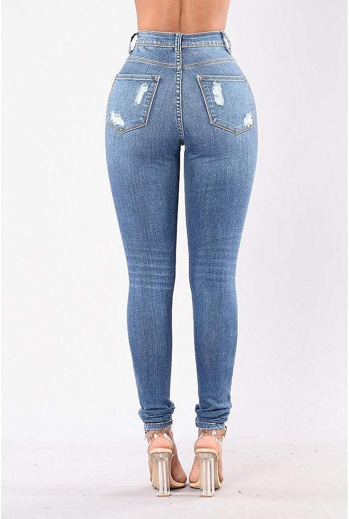 Pantaloni Strappati per Donna Moda Jeans A Vita Media Vintage Boyfriend Skinny Stretch Pantaloni in Denim Casuale Leggings Jeans Denim Pantaloni Lunghi