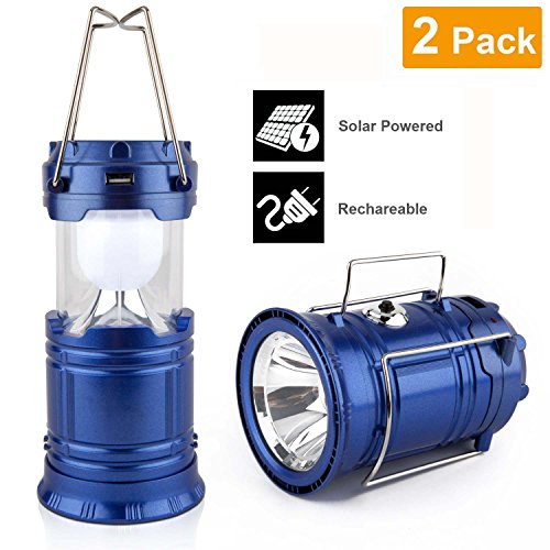 LVJING? Portable Vintage Solar LED Camping Lantern Flashlight Emergency Light for Hiking, Camping, Blackouts, Day White Light, 360 Degree Lighting - 2 Pack ¡­ (Corn Heater compare prices)