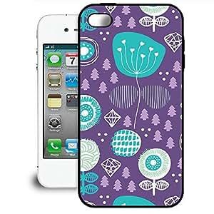 Bumper Phone Case For Apple iPhone 4/4S - Winter Garden Purple Rubber Back