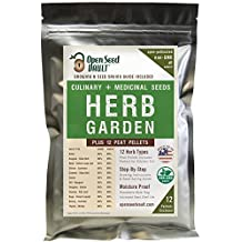100% NON-GMO Heirloom Culinary and Medicinal Herb Kit - 12 popular Easy-to-Grow Herb Seeds by Open Seed Vault - includes 12 seed starting peat pellets!