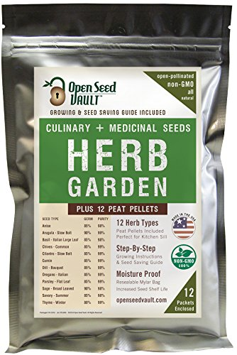 100% NON-GMO Heirloom Culinary and Medicial Herb Kit - 12 popular Easy-to-Grow Herb Seeds by Open Seed Vault - includes 12 seed starting peat pellets! ()