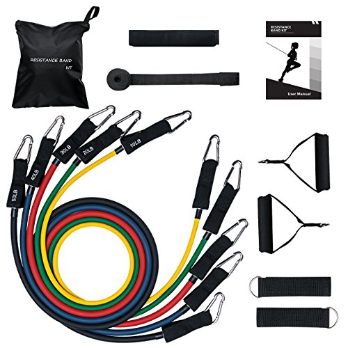 Mpow 150 LBS Resistance Bands Set, Resistance Bands with Handles, 5 Stackable Exercise Bands with Door Anchor, Ankle Straps, Guide Book, Heavy Resistance Tube Bands, Portable Tube Band (Best Way To Break In A New Baseball Glove)
