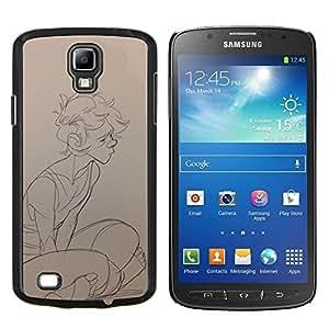TECHCASE---Cubierta de la caja de protección para la piel dura ** Samsung Galaxy S4 Active i9295 ** --Boy Sketch Perfil Arte Retrato Dibujo Lápiz