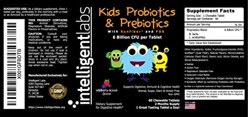 51AjWAU9 DL. AC - 6 Billion CFU Kids / Children's Probiotics With Prebiotics, Sunfiber And Fos, For 10x More Effectiveness. One A Day Great Taste Chewable Probiotic, 2 Months Supply Per Bottle