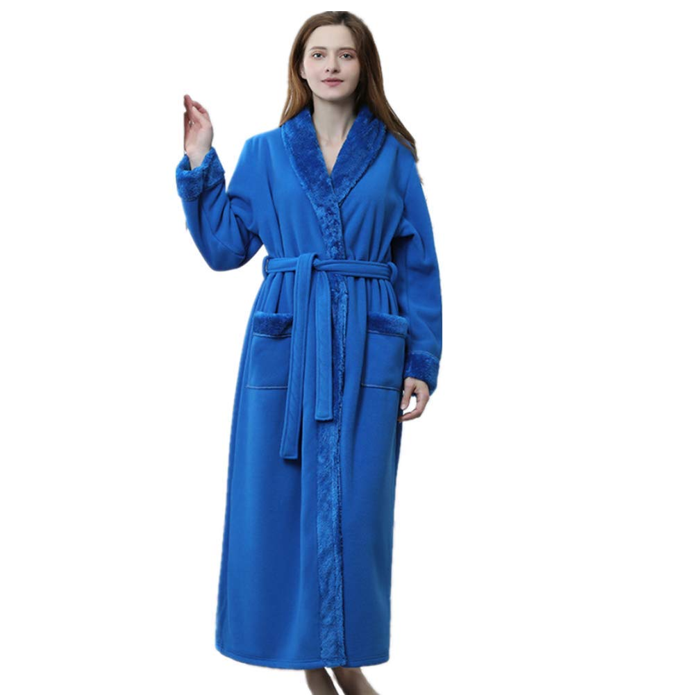 Peluche Inverno Sleepwear Cesto Coppia Doccia Camicia da Notte con Tasche Solid Colored Housecoat Blue Lunghezza Intera da Donna da Uomo in Pile Vestaglia Plus Dimensioni Super Morbido Medium