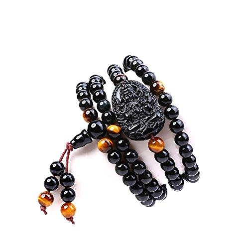 Jan Dee Natural Genuine Semi-Precious Healing Power Obsidian Buddha Crystal Bracelet Multi Circle Bracelet