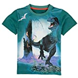 Coralup Boys Lifelike Print Dinosaur Short Sleeve T-Shirts Tops H4303(3/4Y, Green)
