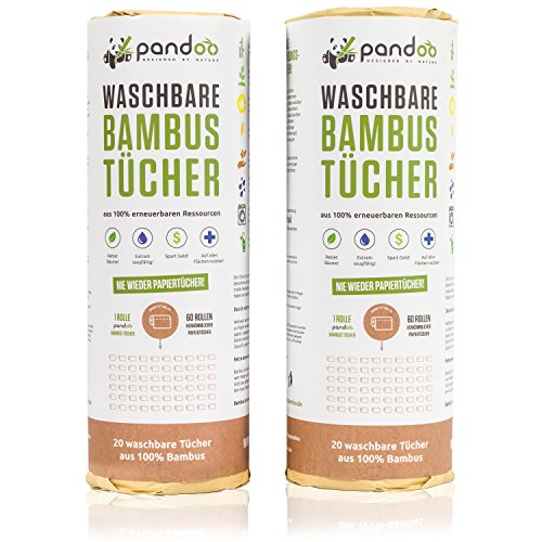 pandoo ♻ 100% Bambus Küchenrolle 2er Pack - waschbare Haushaltstücher, umweltfreundliche Papiertücher, ersetzt bis zu 60 Haushaltsrollen, saugstärker und reißfester als herkömmliche Küchentücher, Papierhandtücher und Putzlappen