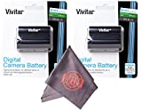 2 Pack of Vivitar EN-EL15 Ultra High Capacity 2500mAh Li-ion + Microfiber Lens Cleaning Cloth EL15 ENEL15 (Nikon EN-EL15 Replacement)