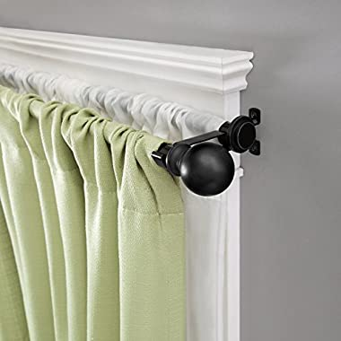 Kenney Ball End Double Window Curtain Rod, 36 to 66-Inch, Matte Black