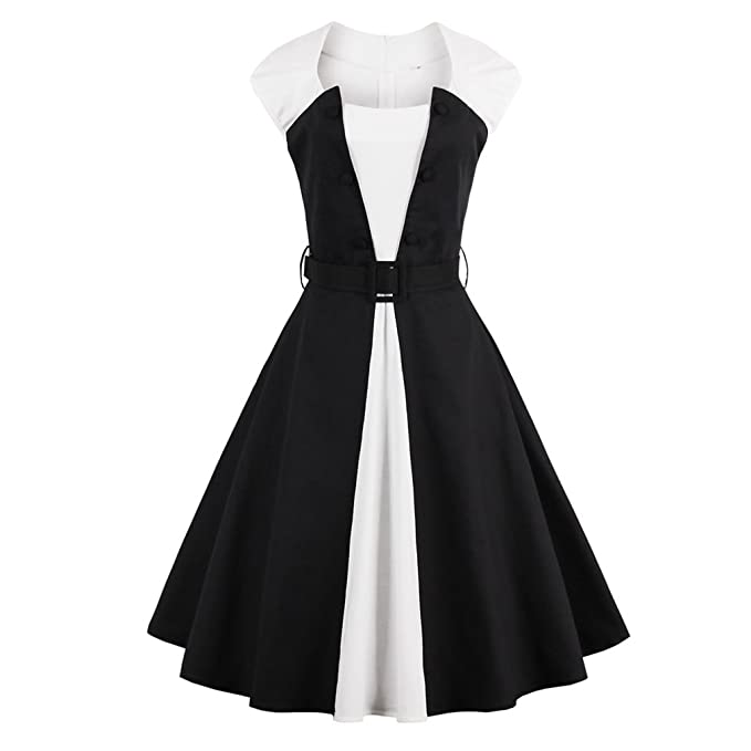 Vintage Dress Vestido de Verano sin Mangas Blanco Negro Mujeres Parte Patchwork Estilo Rockabilly Feminino Vestido Vestidos: Amazon.es: Ropa y accesorios