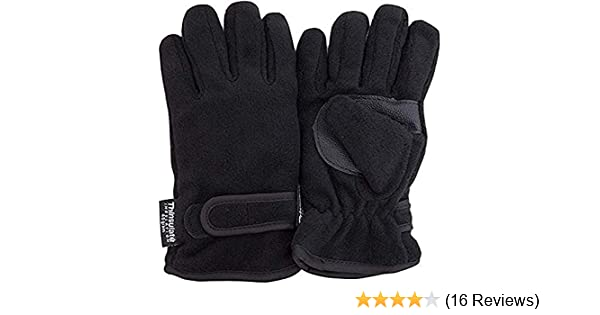 Childrens Thinsulate Fleece Gloves Black Age 8-9