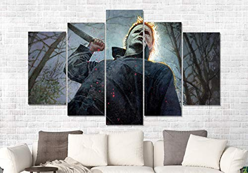 Halloween Michael Myers Horror Movie 5 Panel CANVAS PRINT Framed Wall Art Picture -