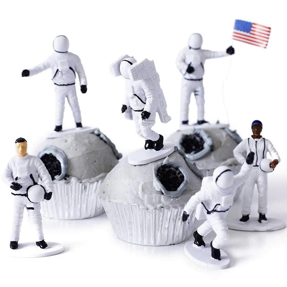 Cakegirls Outer Space Astronaut Cupcake Display Kit - (12) US Astronaut Toy Topper Figurines, (30) Silver Foil Cupcake Liners, (3/4 oz) Black Food Color Gel - Moon Landing Planets Solar System Galaxy by Cakegirls