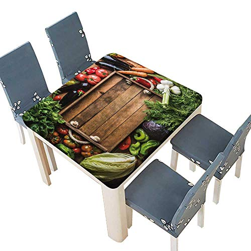PINAFORE Polyester Tablecloths Fresh raw vege Ingredients Healthy Cooking Salad Making Rustic Wooden trayin Table Cover 37.5 x 37.5 INCH (Elastic ()