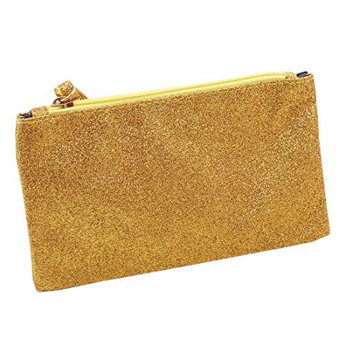 VWH Men Women Wallets PU Bag Zipper Small Mini Clutch Phone Wristlet Party Handbag(Gold) by VWH (Image #1)
