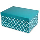 Pop n' Store Decorative Storage Box with Lid - Collapsible and Stackable - Medium Document Box Lattice Teal Print - Interior Size (12'x8.5'x5.8')
