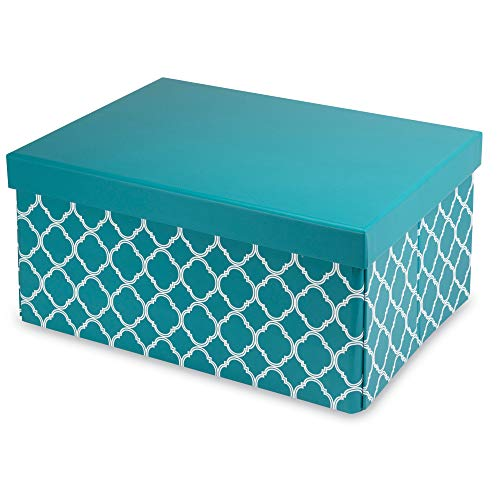Pop n' Store Decorative Storage Box with Lid - Collapsible and Stackable - Medium Document Box Lattice Teal Print - Interior Size (12
