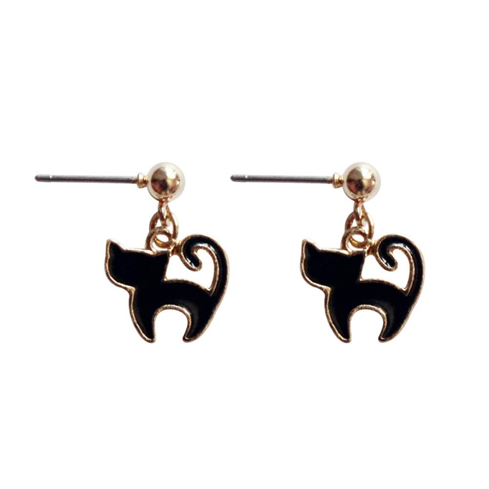 Jin Sheng 18K Gold-Plated Cute Cat Pendant Dangle Hook Earrings /& Stud Post Earrings