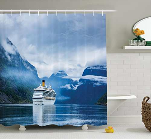 Personalized Cruise Ship (Ambesonne Cruise Ship Decor Collection, Cruise Liners in Hardangerfjord Norway Mountain Summer Holidays Landscape Image, Polyester Fabric Bathroom Shower Curtain, 84 Inches Extra Long, Navy Blue White)