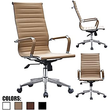 eames ribbed chair tan office. 2xhome Tan - Eames Style Ribbed Office Chair Beige Modern PU Leather Executive With U