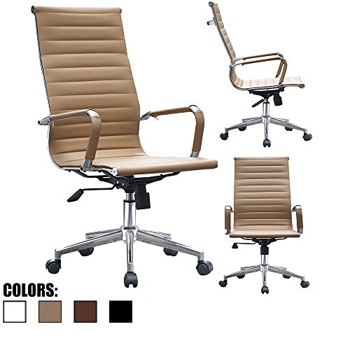 2xhome - Tan - Ribbed Office Chair Tan Beige Ribbed Modern PU Leather Executive with Wheels