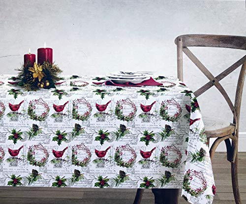 (ENVOGUE Holiday Collection Cotton Fabric Christmas Tablecloth Holly Pine Boughs Cones Berries Wreaths Cardinals Birds Pattern French Stamps Paris Script 90 Inches Round)
