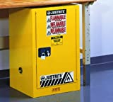 Justrite 891220 Sure-Grip EX 12 Gallon, 35'' H x 23-1/4'' W x 18'' D, 1 Door, 1 Shelf , Self-Close Yellow Compact Flammable Storage Cabinet