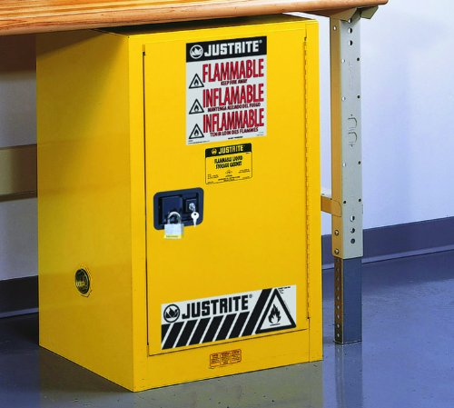 Justrite 891220 Sure-Grip EX 12 Gallon, 35'' H x 23-1/4'' W x 18'' D, 1 Door, 1 Shelf , Self-Close Yellow Compact Flammable Storage Cabinet by Justrite