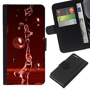 Planetar® Modelo colorido cuero carpeta tirón caso cubierta piel Holster Funda protección Para Apple iPhone 5C ( Red Water Drop Red Splash )