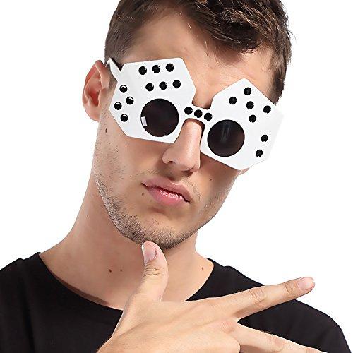 D.O.T 1Pcs White Dice Shape Craps Funny Party Novelty - Sunglasses Craps