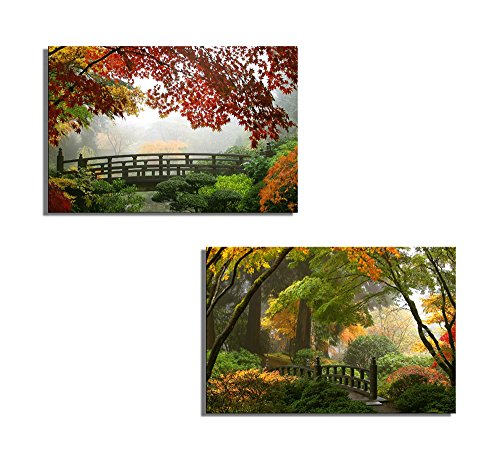 "wall26 - Canvas Prints Wall Art - Misty Fall Morning in Portland's Japanese Gardens | Modern Wall Decor/Home Decoration Stretched Gallery Canvas Wrap Giclee Print. Ready to Hang - 16""x24"" x 2 Panels from wall26"