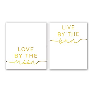 Amazoncom Live By The Sun Love By The Moon Gold Foil Print Yoga