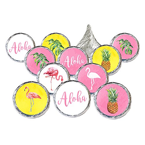 Flamingo Pineapple Tropical Party Favor Stickers, 324 Count by DISTINCTIVS