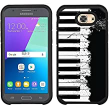 Samsung Galaxy J3 Emerge case - [Piano Splash] (Black) PaletteShield dual-layer hybrid rugged armor skin phone cover (fit Samsung Galaxy J3 Emerge/ J327/ 2017)