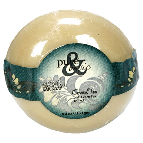 Pure & Basic Deodorant Bar Soap, Natural, Green Tea, 6.4-Ounces (Pack of ()