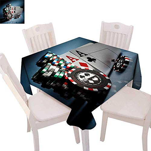 cobeDecor Poker Tournament Decorations Dinning Tabletop DecorGambling Chips and Pair Cards Aces Casino Wager Games Hazard Table Cover for Kitchen 50