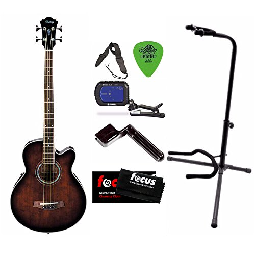 Ibanez AEB10EDVS Acoustic-Electric Bass Guitar + Free DVD, Pics, Strap, Winder, Tuner & Guitar Stand by Ibanez
